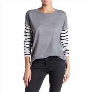 French Connection Grey Striped Sleeve Crew Neck- S